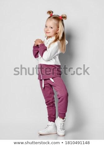 aranyos · atléta · közelkép · kislány · lány · arc - stock fotó © acidgrey