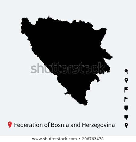 High detailed vector map of Federation of Bosnia and Herzegovina with navigation pins. Stock photo © tkacchuk