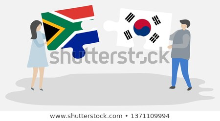south africa and south korea flags in puzzle stock photo © istanbul2009