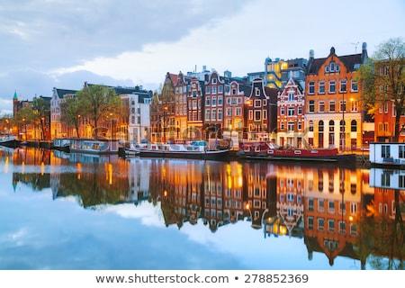 Stok fotoğraf: Gece · Amsterdam · Hollanda · sokak · köprü