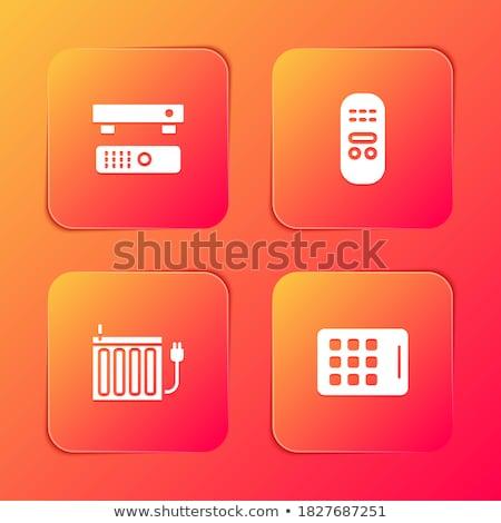 Multimedya kare vektör kırmızı ikon dizayn Stok fotoğraf © rizwanali3d