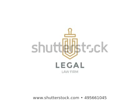 Stock photo: Vector security concept, shield and swords