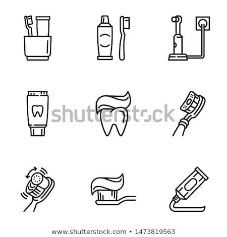 зубная паста щетка изолированный белый фон медицина Сток-фото © konturvid