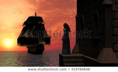 fantezi · kale · gün · batımı · gökyüzü · duvar · manzara - stok fotoğraf © ankarb