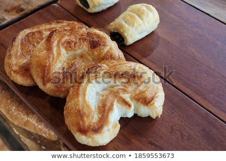 Taze kruvasan hizmet kahvaltı gıda ekmek Stok fotoğraf © flariv