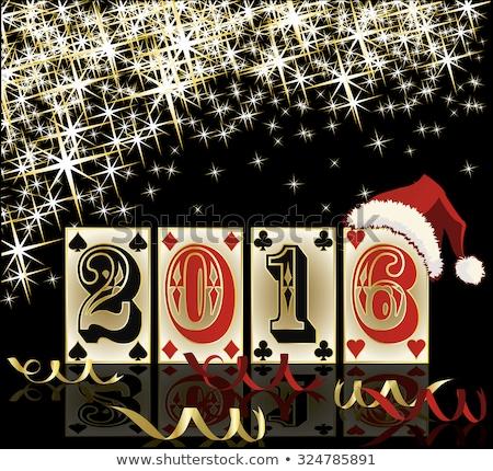 Natal pôquer 2016 ano novo festa relógio Foto stock © carodi