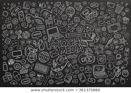 laptop icon drawn in chalk stock photo © rastudio