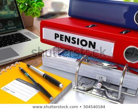 Stock fotó: Piros · gyűrű · felirat · szolgáltatások · dolgozik · asztal