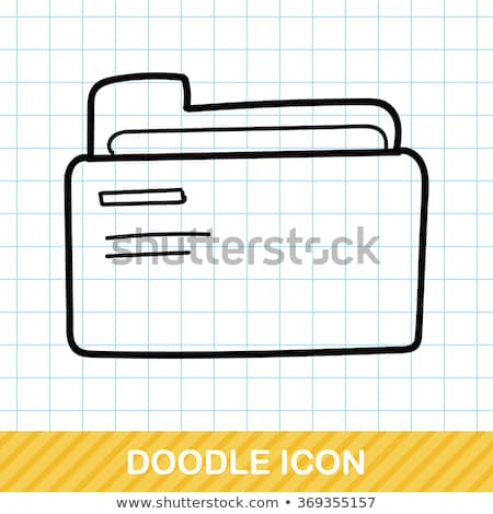 doodle · map · icon · Blauw · pen - stockfoto © pakete