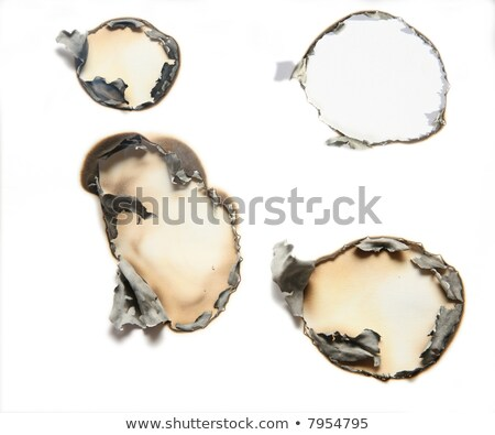 Stok fotoğraf: The Sheet Of Paper With The Burnt Holes Against The White Background