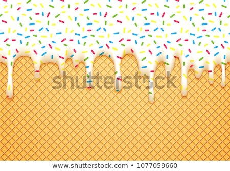 vector seamless background of wafer and cream with sprinkles  Stock photo © freesoulproduction