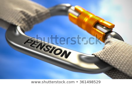 Chrome Carabiner Hook with Text Pension. Stock photo © tashatuvango