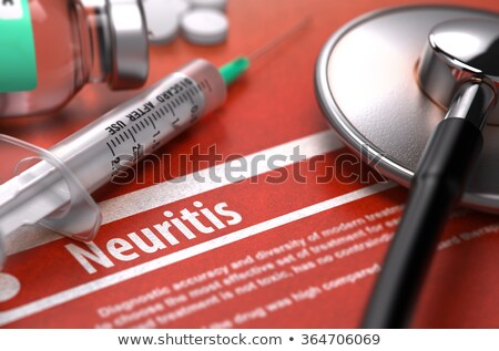 Neuritis - Printed Diagnosis on Orange Background. Stock photo © tashatuvango