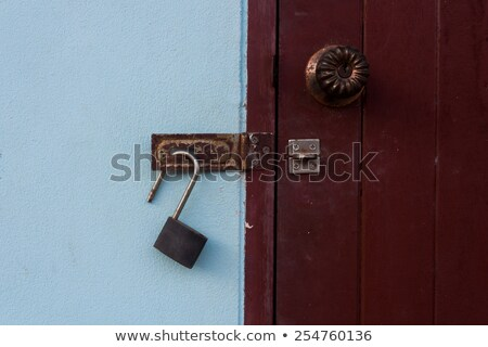 metal gate and open padlock stock photo © thp