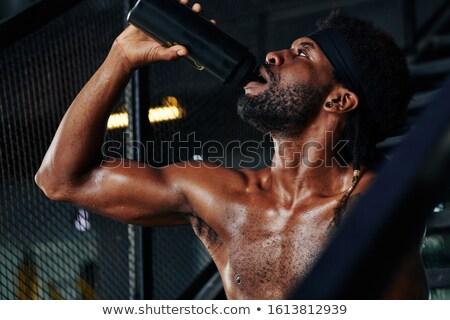 torso · zweten · man · topless · geïsoleerd · zwarte - stockfoto © alexandrenunes
