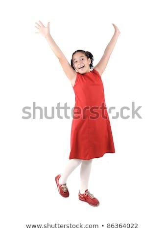 Adorable  preteen school  girl wearing red dress isolated, posing Stock photo © zurijeta