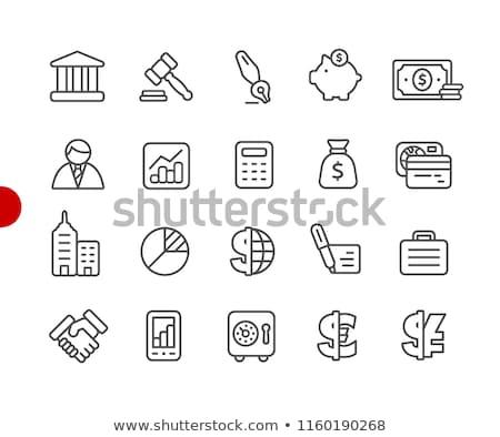 empresario · senalando · línea · icono · web - foto stock © RAStudio
