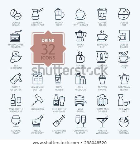 Ketel lijn icon hoeken web mobiele Stockfoto © RAStudio