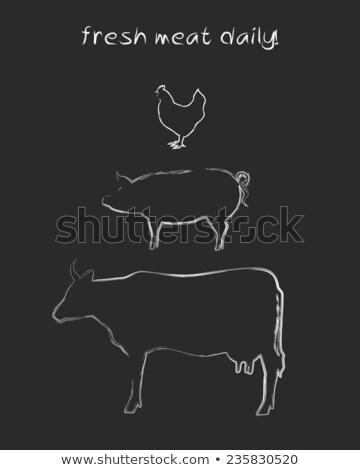 свинья · символ · свинина · мяса · икона · дизайна - Сток-фото © rastudio
