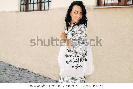 Recycling stijl mode shot jonge dame Stockfoto © konradbak