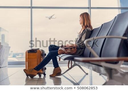 silueta · mujer · aeropuerto · mujer · de · negocios · vuelo · avión - foto stock © adrenalina
