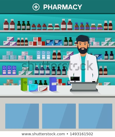 Flat style young pharmacist at pharmacy opposite shelves of medicines Stock photo © vectorikart