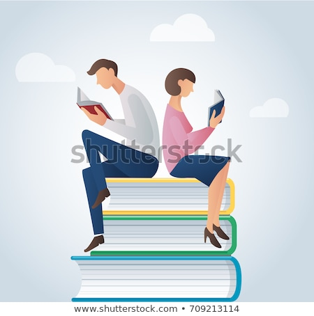 two boys reading books in the park stock photo © bluering