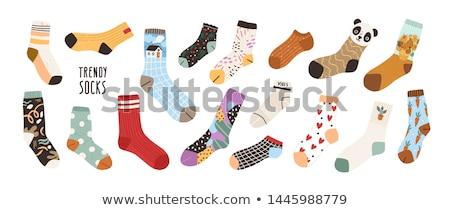 zokni · izolált · fehér · gyermek · fotó · pamut - stock fotó © devon