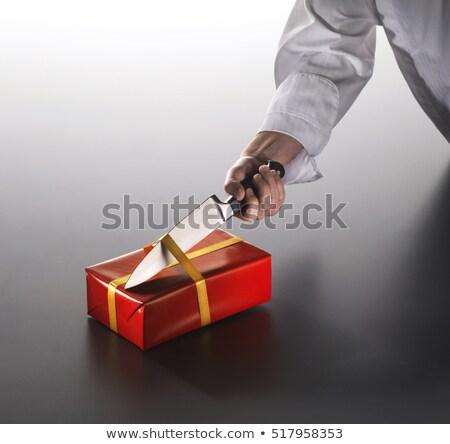 férfi · születésnap · karácsony · ajándék · kés - stock fotó © janssenkruseproducti