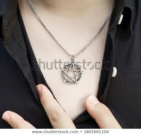 Forma de corazón icono largo sombra diseno cadena Foto stock © biv