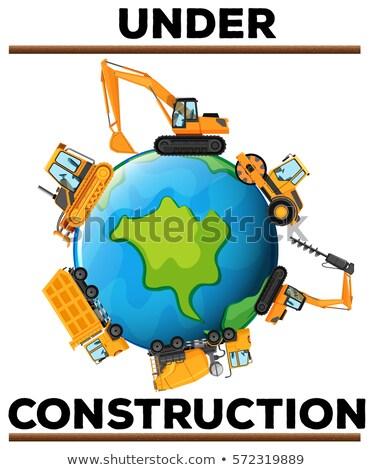 Bouw poster aarde illustratie wereld Stockfoto © bluering