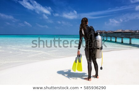 Stock photo: girl with scuba mask and fins