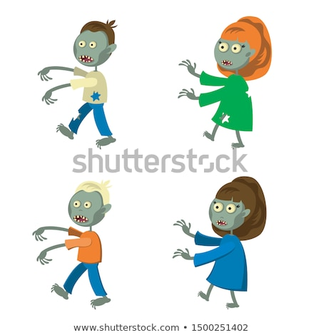 Scary Zombie Woman Character Walking Flat Vector Stock photo © robuart