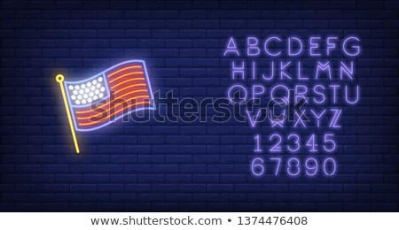 neon sign waving usa flag stock photo © voysla
