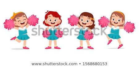 Firka karakter aranyos pompomlány illusztráció boldog Stock fotó © bluering