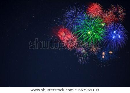 Blauw groene Rood vuurwerk kant Stockfoto © TasiPas