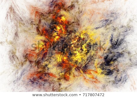 Stock photo: Abstract swirly red shape on black background. 3D
