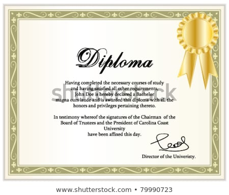 golden classic guilloche border for diploma or certificate with stock photo © taiga