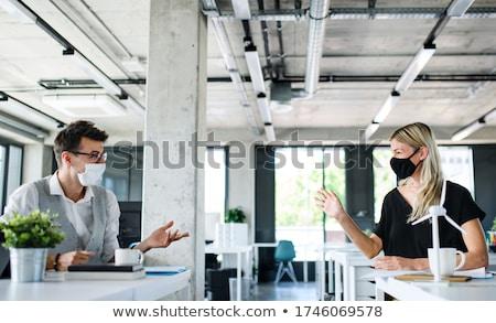 Empresário feliz trabalhar escritório grande Foto stock © alphaspirit