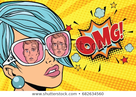 Omg gyönyörű nő tükröződés férfiak napszemüveg pop art Stock fotó © studiostoks