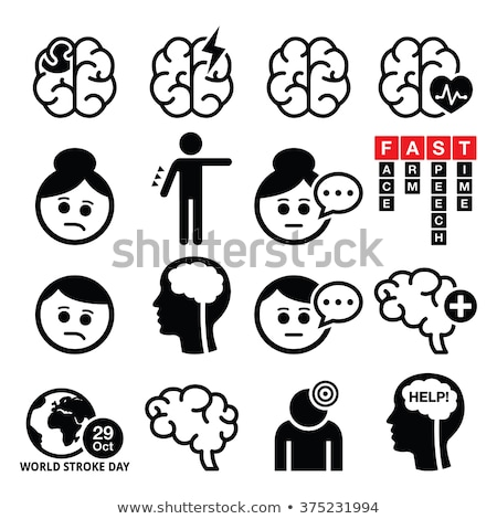 brain stroke vector health medical icons   brain injury brain damage concept stock photo © redkoala