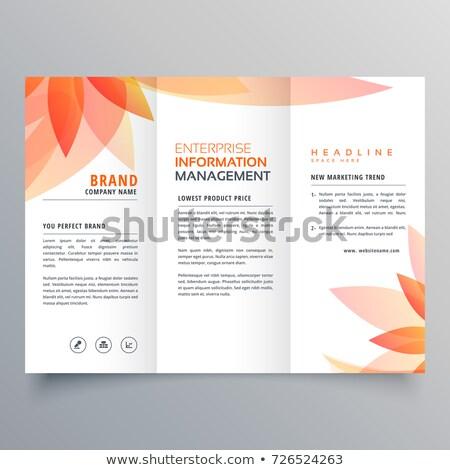 beautiful orange leaf tri fold business brochure vector design Stock photo © SArts
