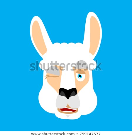 Lama Alpaca winking. Animal happy emoji. Vector illustration Stock photo © popaukropa