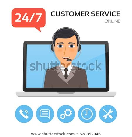 Müşteri hizmetleri dizüstü bilgisayar ekran iniş sayfa Stok fotoğraf © tashatuvango
