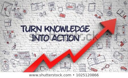 Turn Knowledge Into Action Drawn on Brick Wall.  Stock photo © tashatuvango