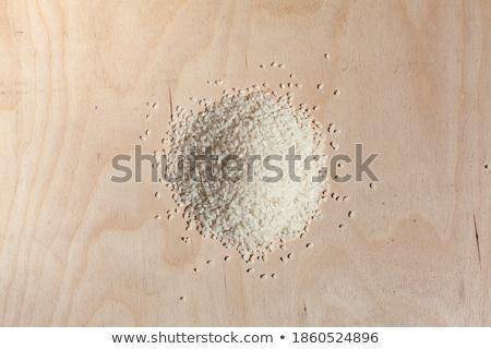 Tigela arroz colher isolado alimentação saudável café da manhã Foto stock © MaryValery