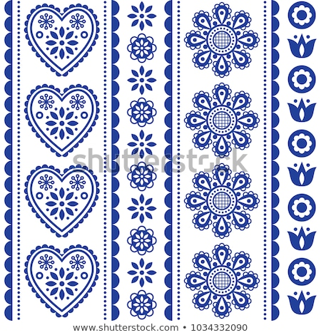 scandinavian seamless folk art vector pattern with flowers and hearts nordic ornament design   long stock photo © redkoala