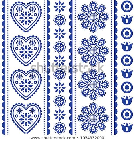 Scandinavian seamless folk art vector pattern with flowers and hearts, Nordic ornament design - long Stock photo © RedKoala