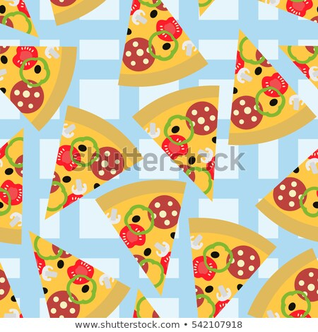 pizza seamless pattern on a blue tablecloth food background stock photo © popaukropa
