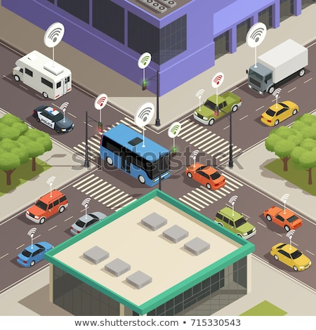 City transport infrastructure isometric poster Stock photo © studioworkstock